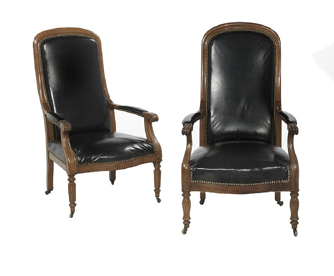 Near Pair of William IV Mahogany Library Chairs