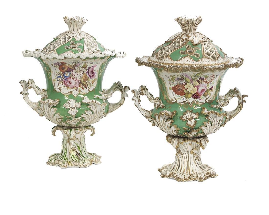 Pair of Assembled English Porcelain Vases