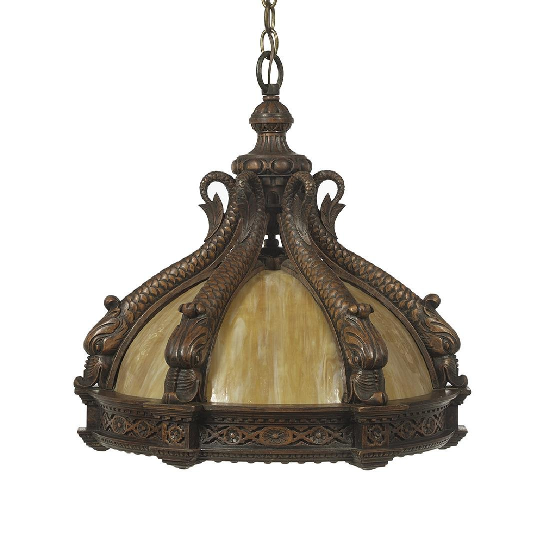 Whimsical Fruitwood and Slag Glass Chandelier