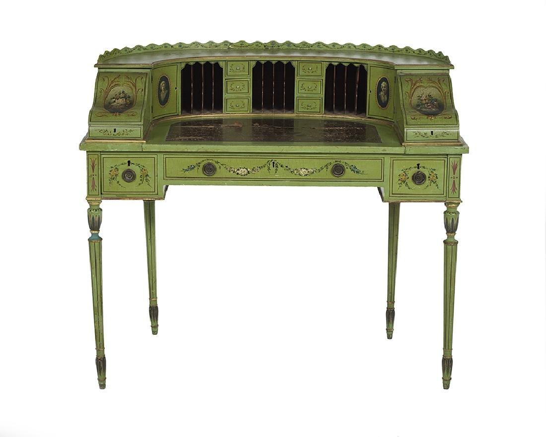 Edwardian Polychrome Carlton House Desk