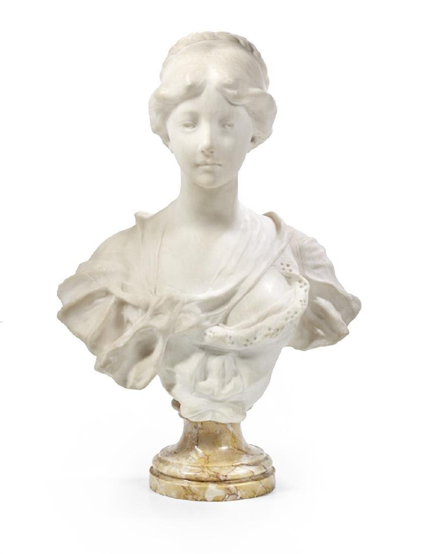 Italian Carved Marble Bust of an Elegant Lady