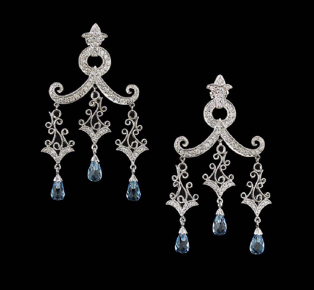 Blue Topaz and Diamond Chandelier Earrings