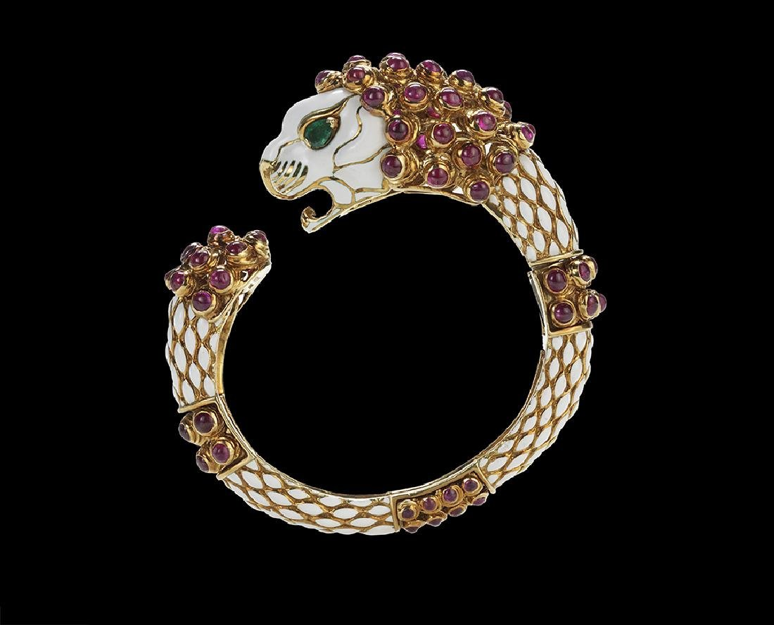 David Webb Ruby and Emerald Lion Bracelet
