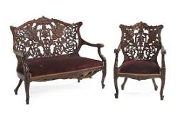 American Rococo Revival Mahogany Parlor Set