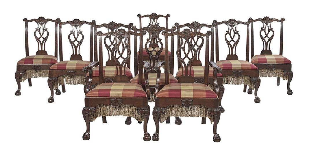 Ten George III-Style Mahogany Dining Chairs