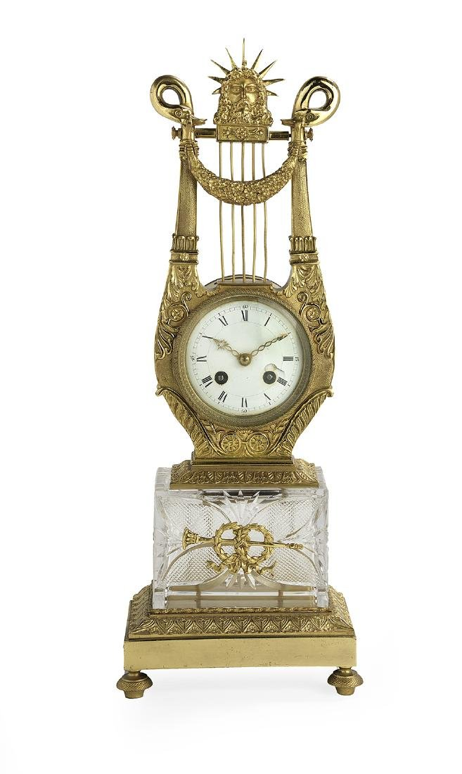 Restauration Lyre-Form Mantel Clock