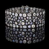 Tanzanite, Moonstone and Diamond Bracelet
