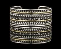 "David Yurman ""Stax"" Diamond Cuff Bracelet"