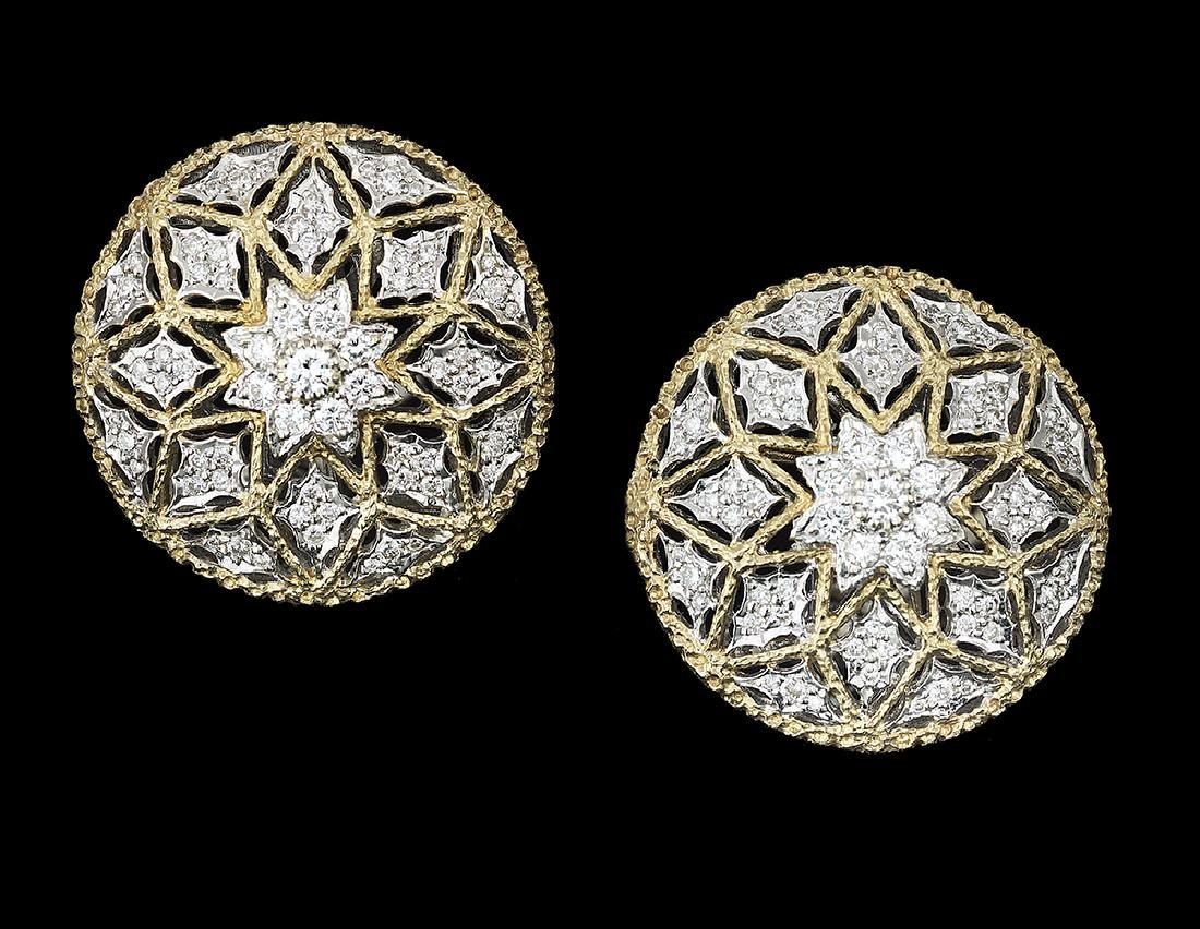 Diamond Ear Clips in the Buccellati Style