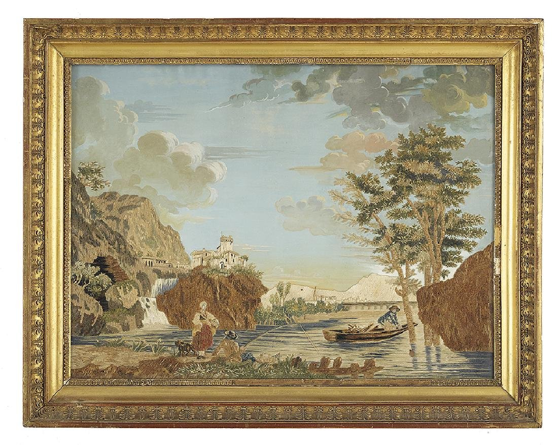 Continental Embroidery of a Bucolic Lake Scene