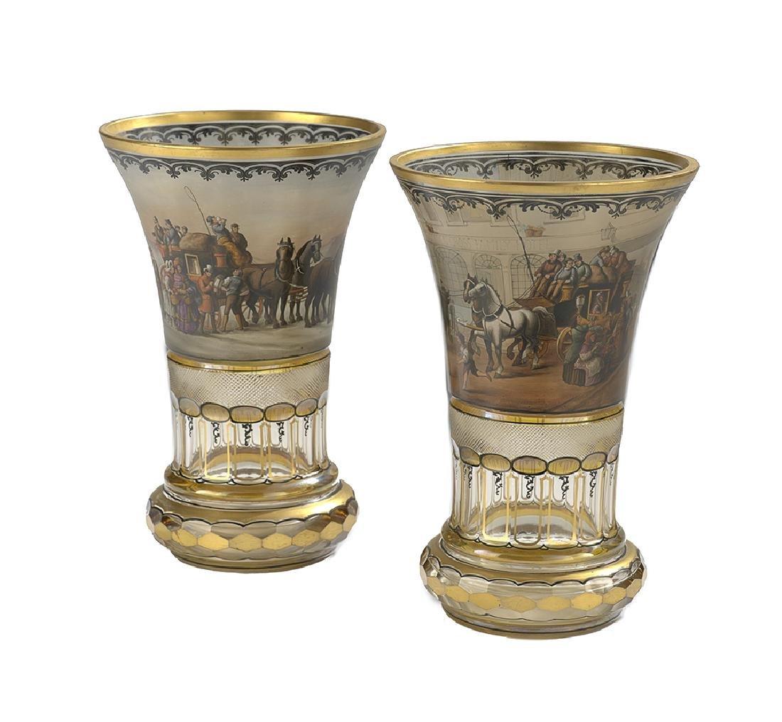 Near Pair of Bohemian Enameled Glass Vases