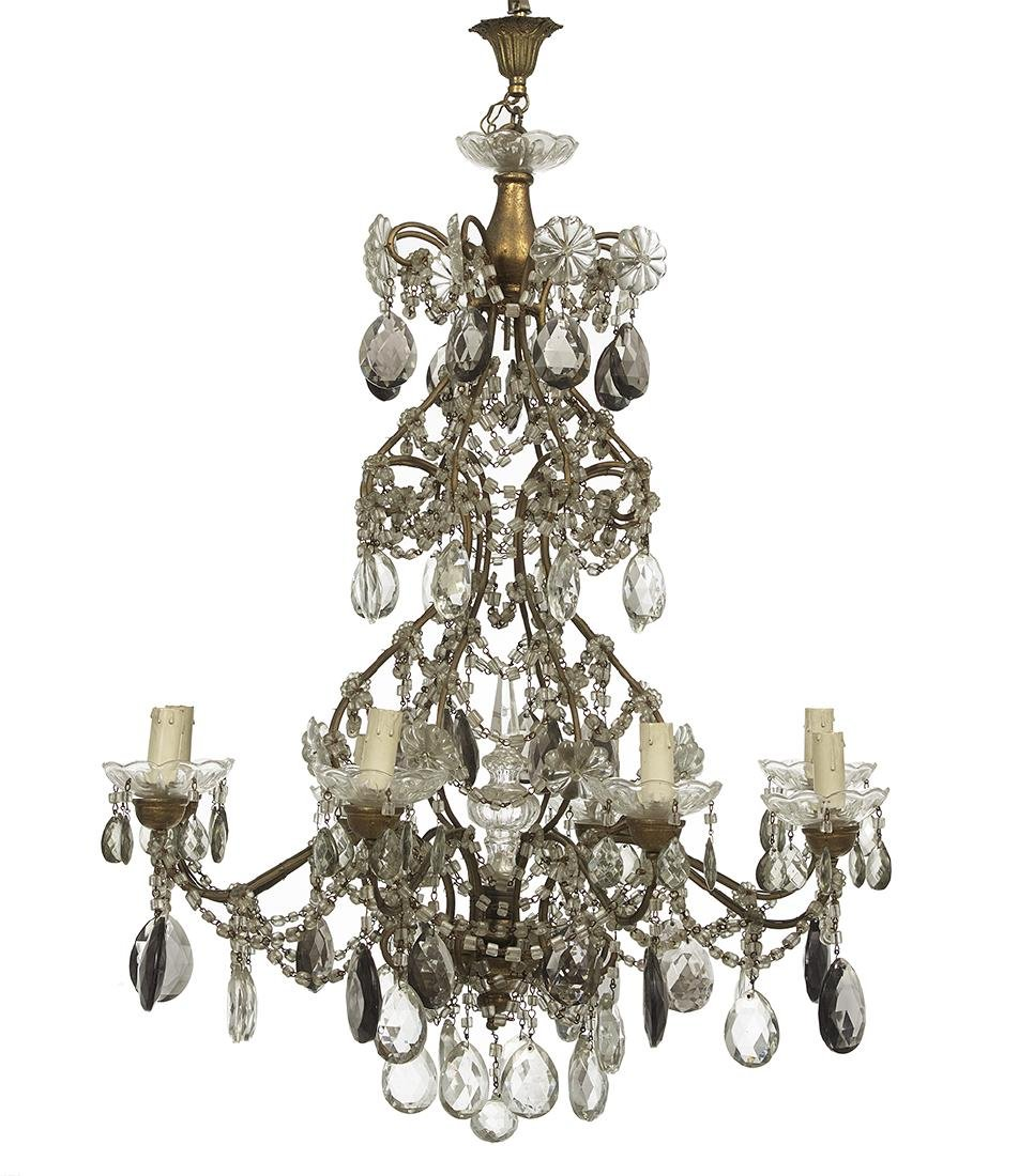 Continental Metal and Glass Chandelier