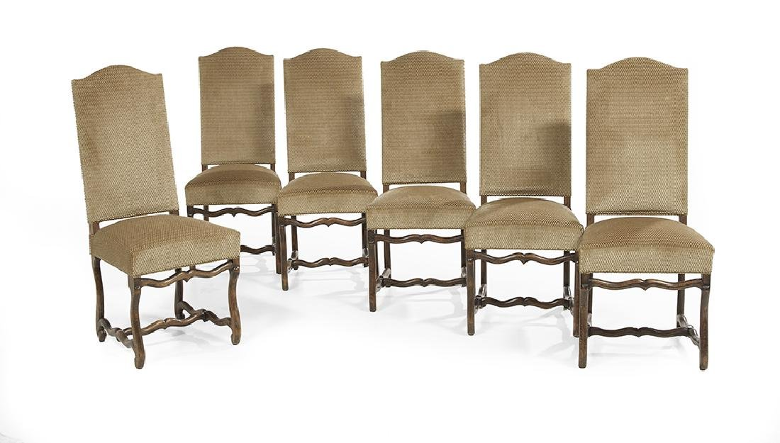 Suite of Six Flemish-Style Fruitwood Side Chairs
