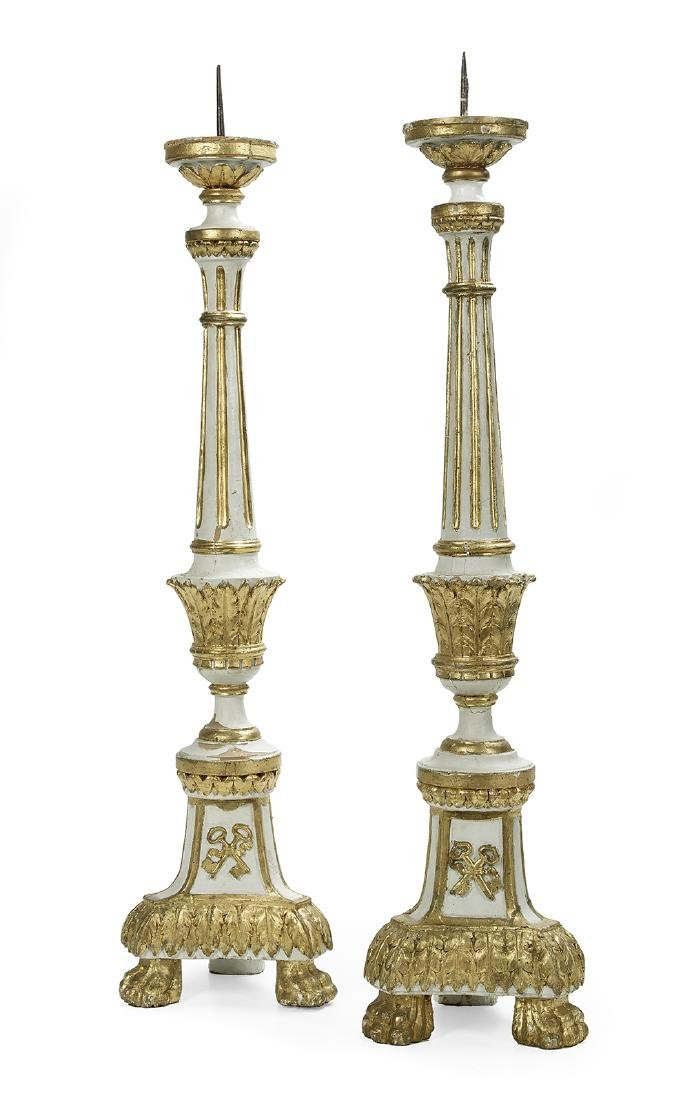 Pair of Italian Parcel-Gilt Wooden Altar Sticks