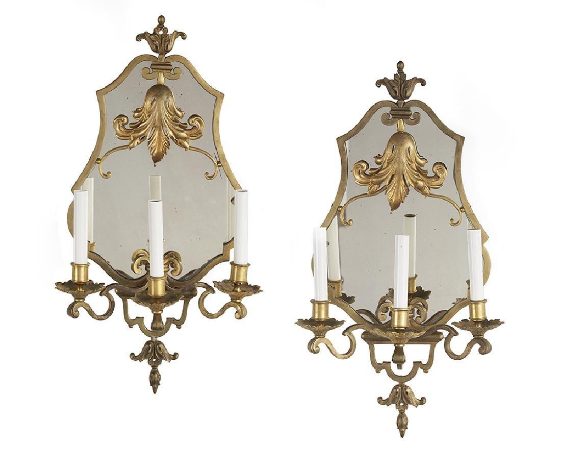 Pair of Gilt-Bronze Sconces in the Baroque Taste