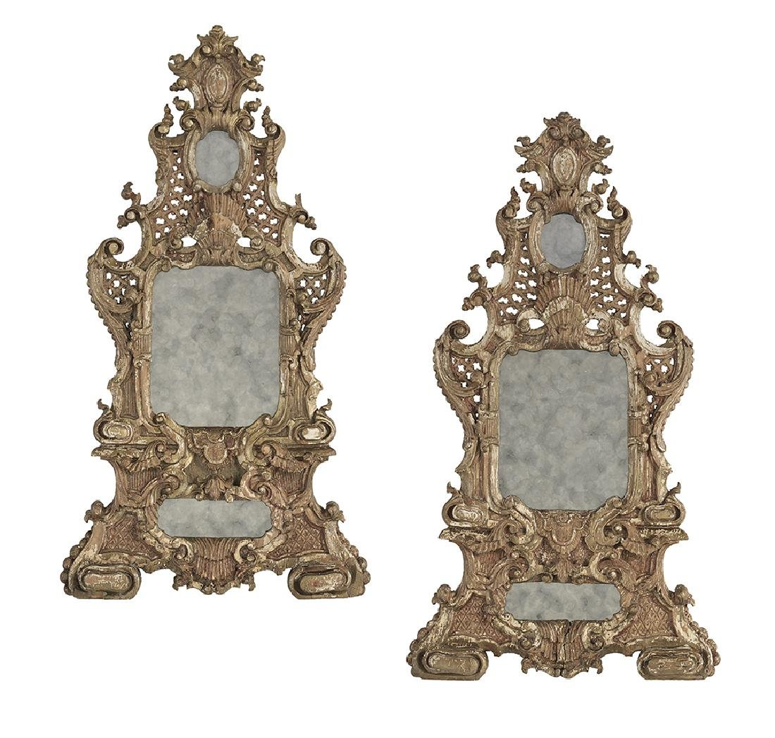 Pair of German Delicately Carved and Pierced Mirrors
