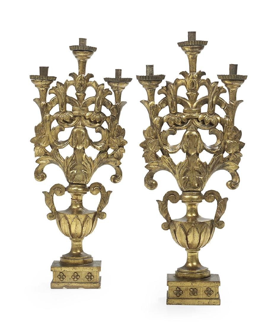 Pair of Italian Baroque-Style Carved Giltwood