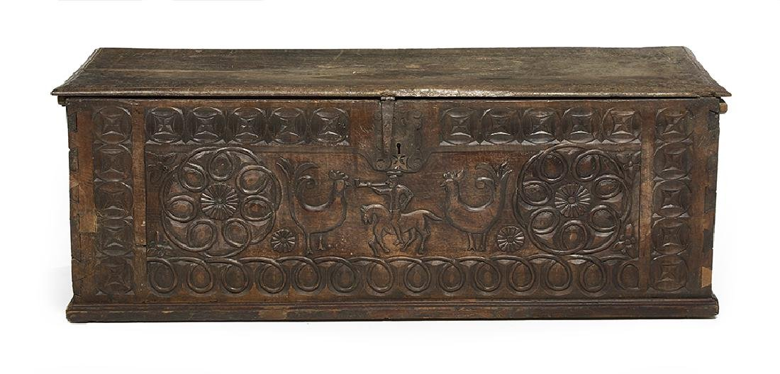 Large Continental Carved Oak Cassone