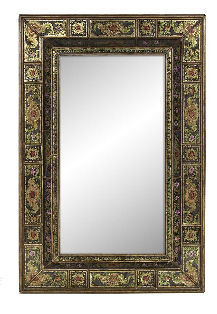Giltwood and Eglomise Cushion-Form Mirror