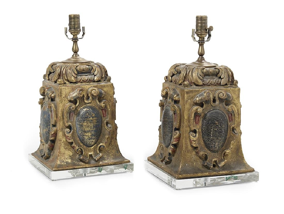 Pair of Composition Table Lamps in the Italian Baroque