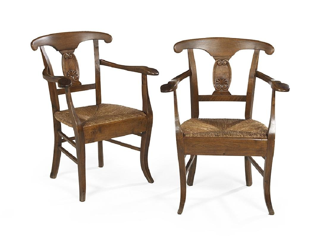 Pair of Provincial Directoire Fruitwood Fauteuils