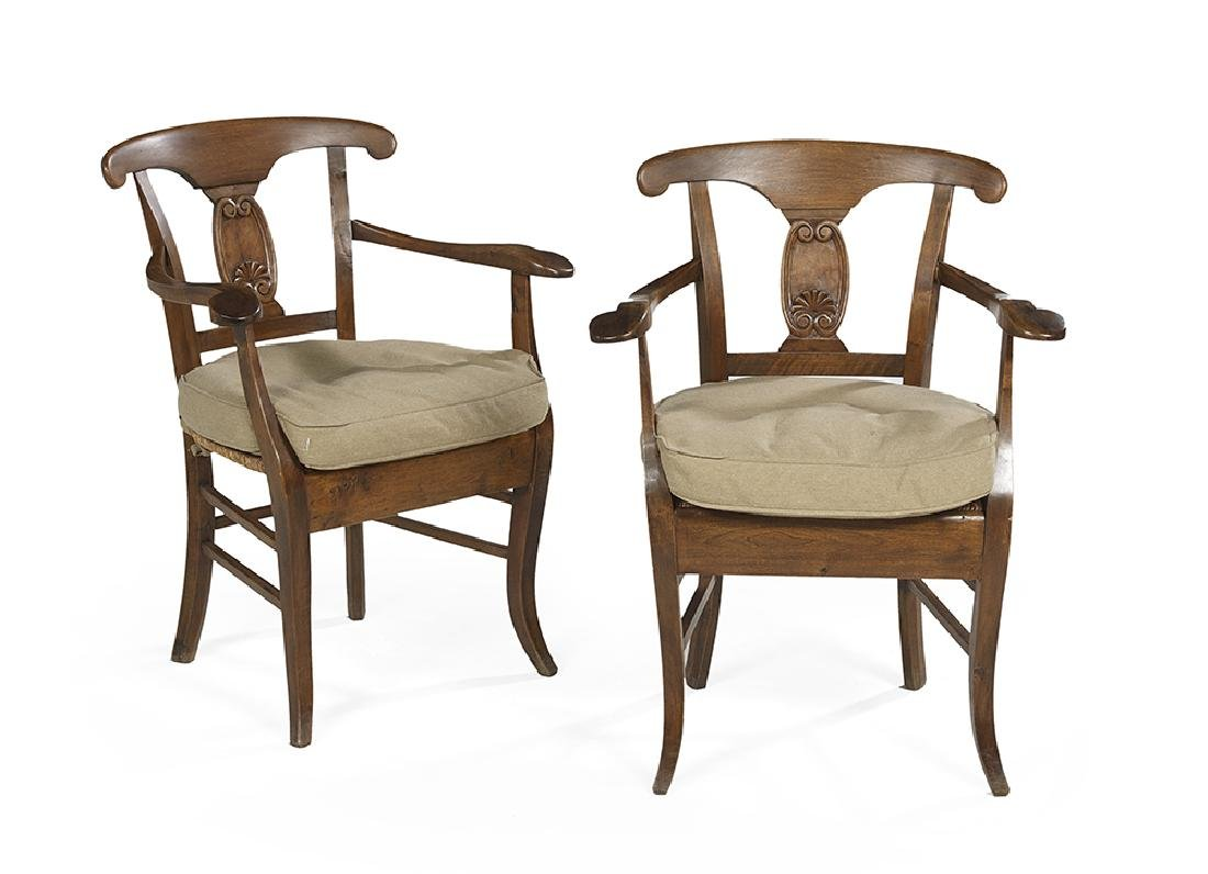Pair of Provincial Directoire Fruitwood Fauteuils - 2