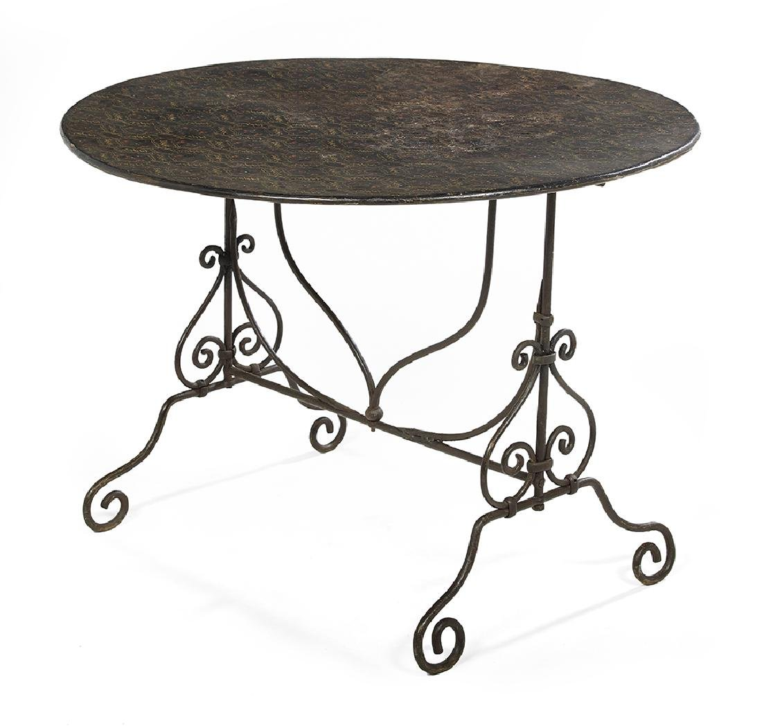 French Wrought Iron and Tole-Painted Tilt-Top Wine
