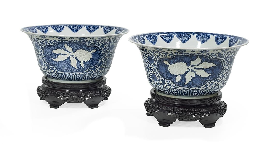 Pair of Chinese Blue and White Porcelain Bowls and