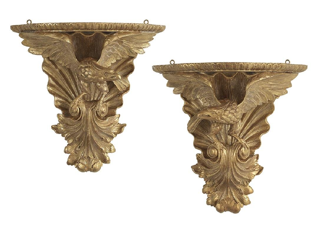 Pair of English Eagle-Carved Giltwood Brackets