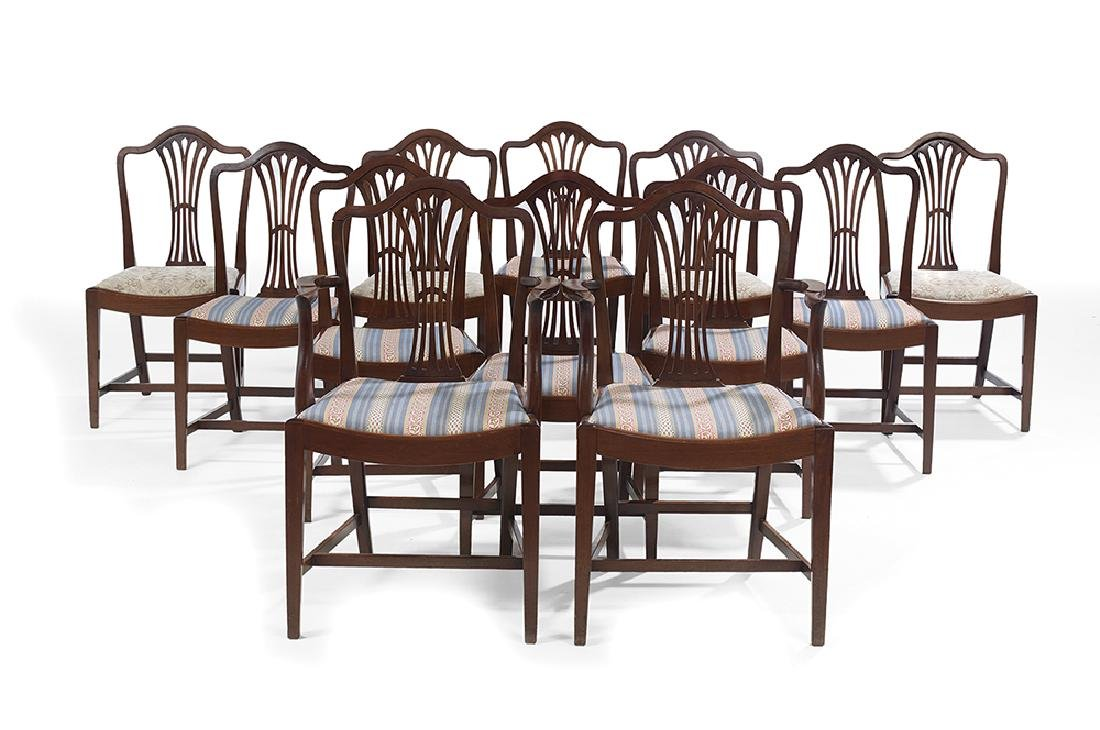 Suite of Twelve George III-Style Mahogany Dining Chairs