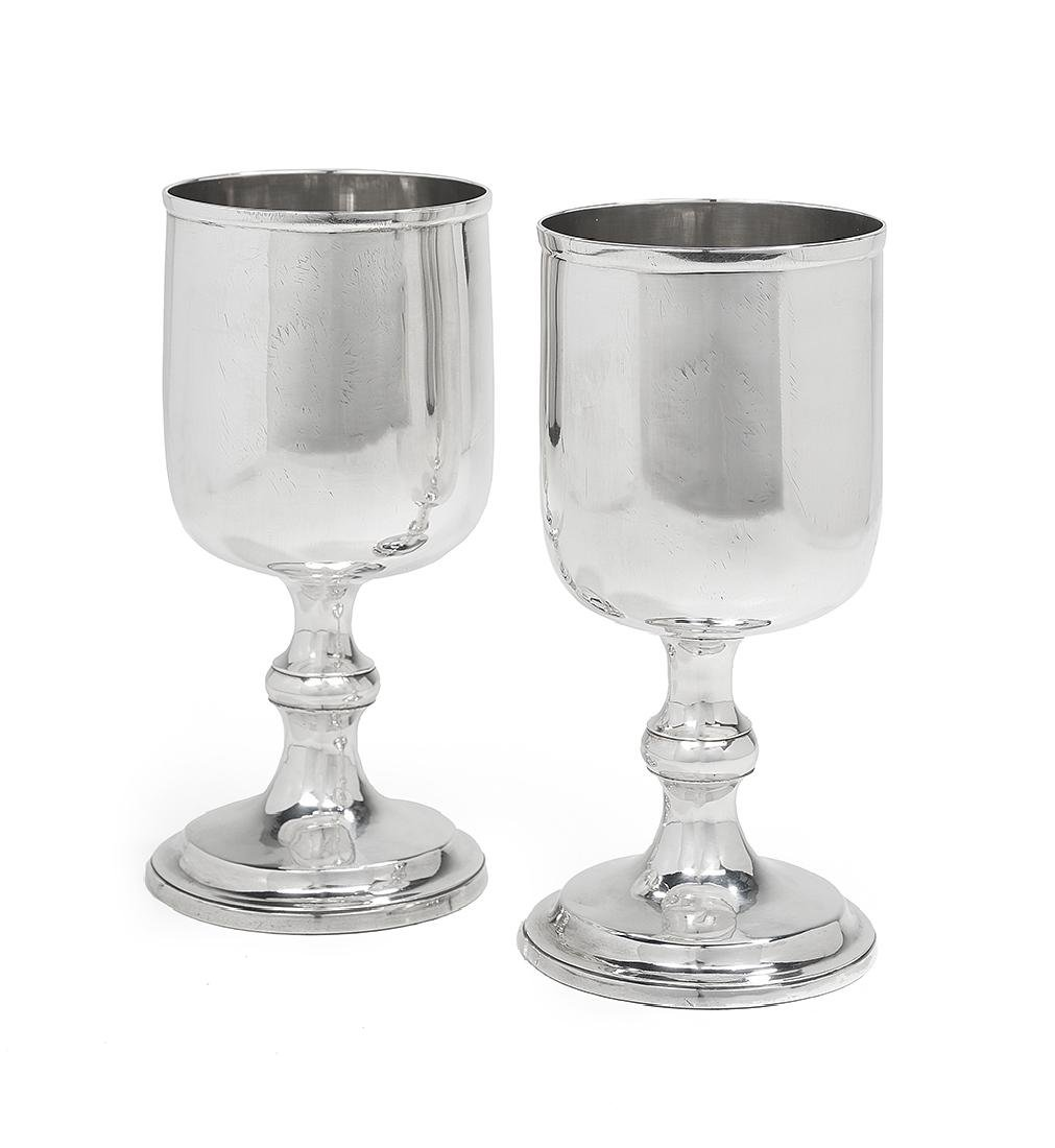 Large Pair of Late George III Sterling Silver Goblets