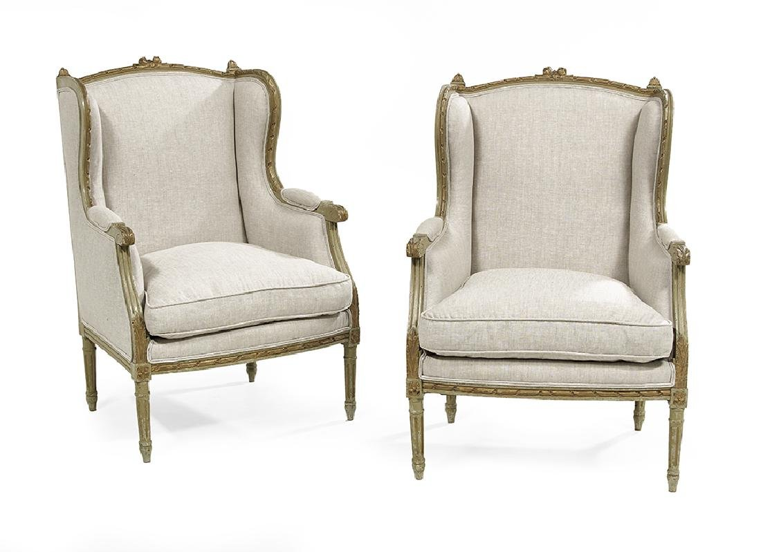 Pair of Louis XVI-Style Polychrome and Parcel-Gilt
