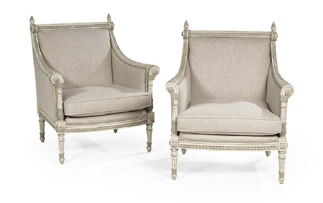 Pair of Directoire-Influenced Polychrome Bergeres
