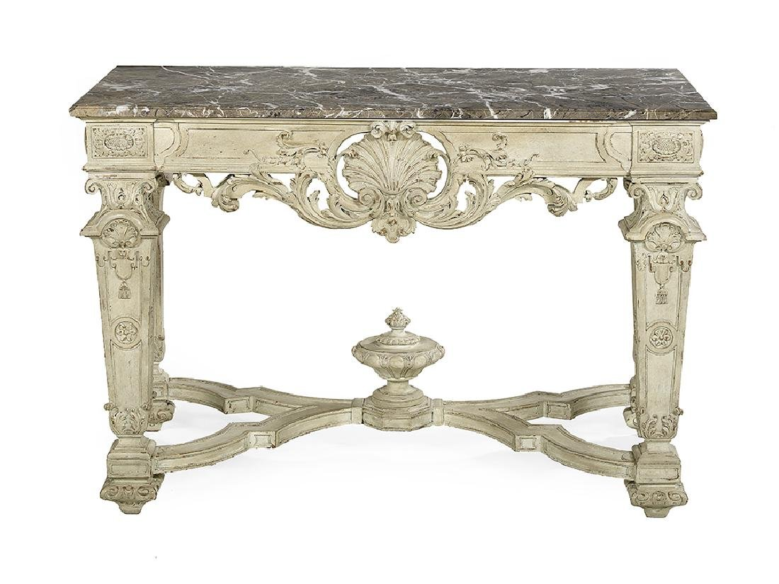 Louis XVI-Style Polychrome and Marble-Top Side Table