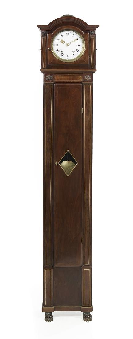 Empire Mahogany and Brass String-Inlaid Tall Case Clock