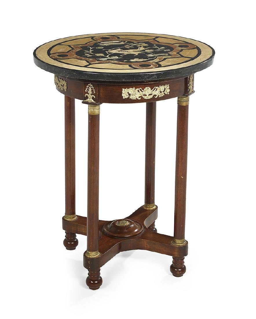 Empire-Style Mahogany and Slate-Top Center Table