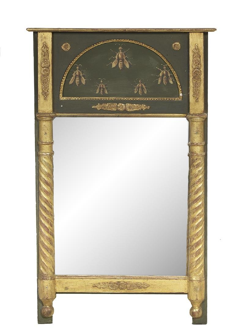 Italian Empire-Style Painted and Parcel-Gilt Mirror