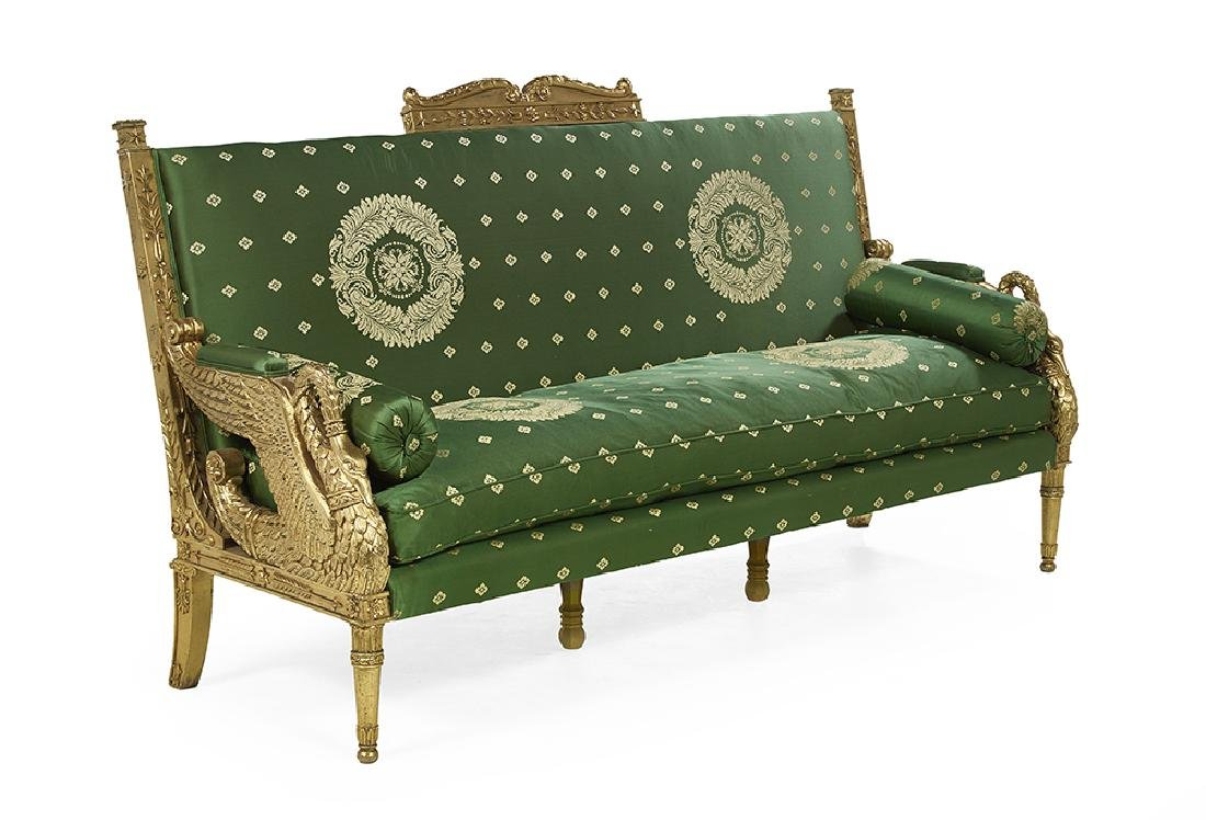 Empire-Style Giltwood Settee - 2
