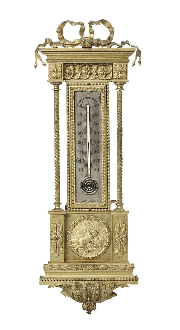 French Gilt-Bronze Wall Thermometer