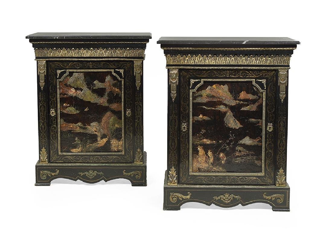 Pair of Napoleon III Ebonized and Marble-Top Cabinets