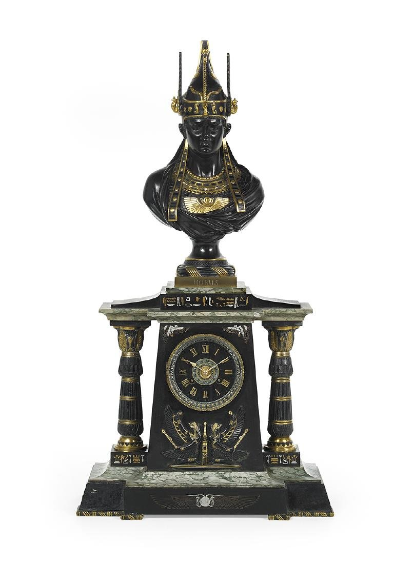 French Egyptian Revival Marble and Bronze Mantel Clock