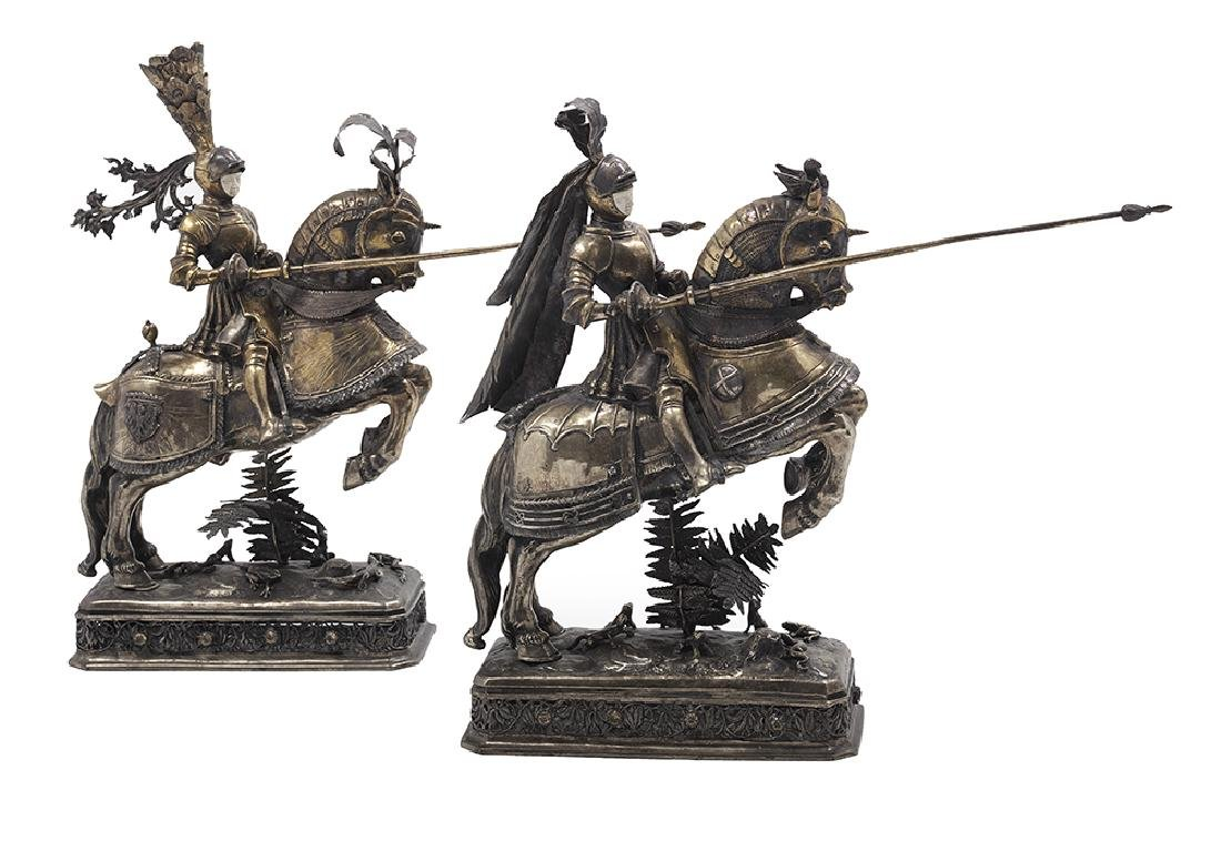 Good Pair of German Sterling Silver Gilt Jousting