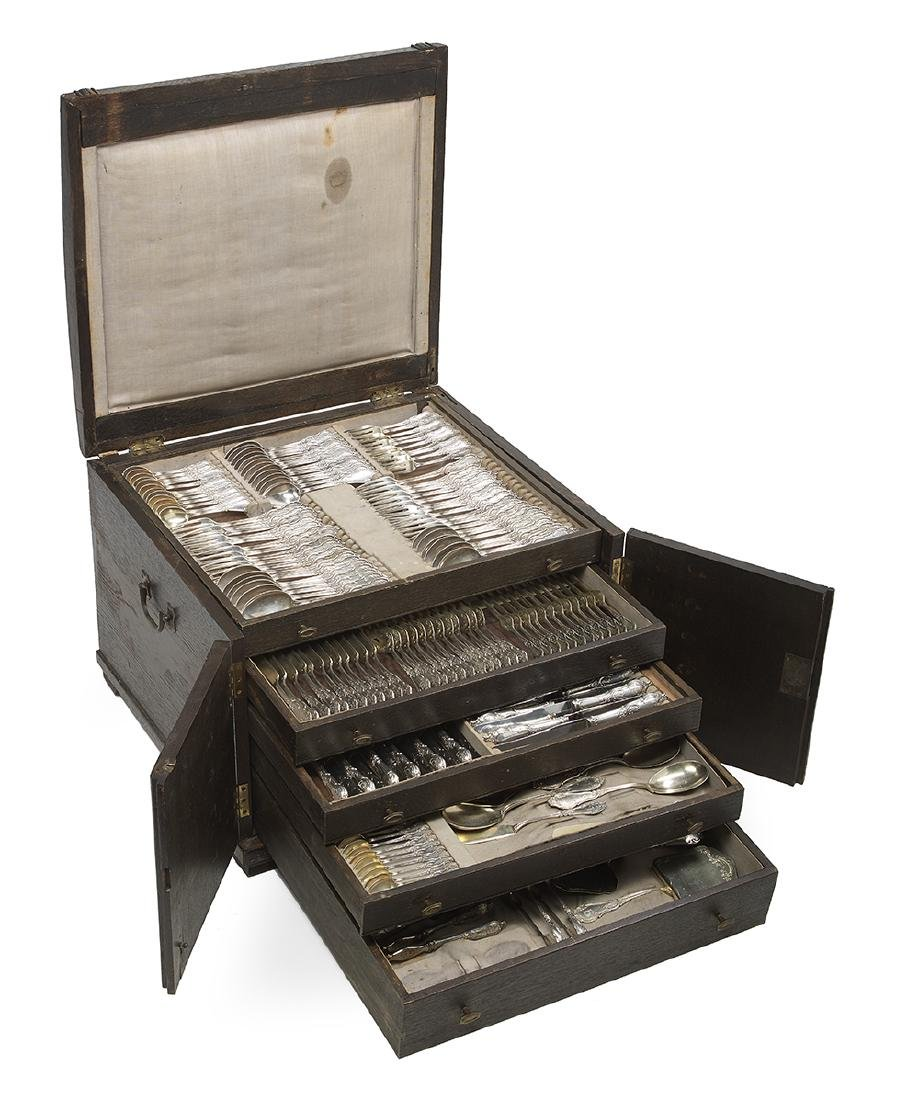 Large Cased German Rococo-Style Silver Flatware Service