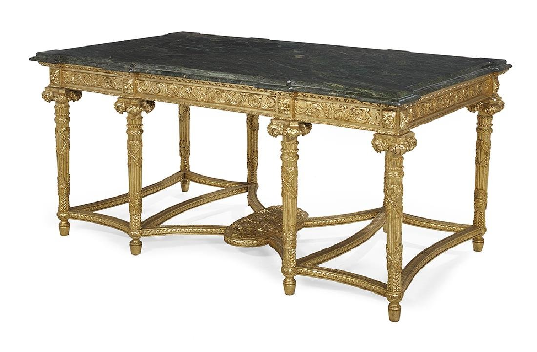 Louis XVI-Style Giltwood and Marble-Top Center Table