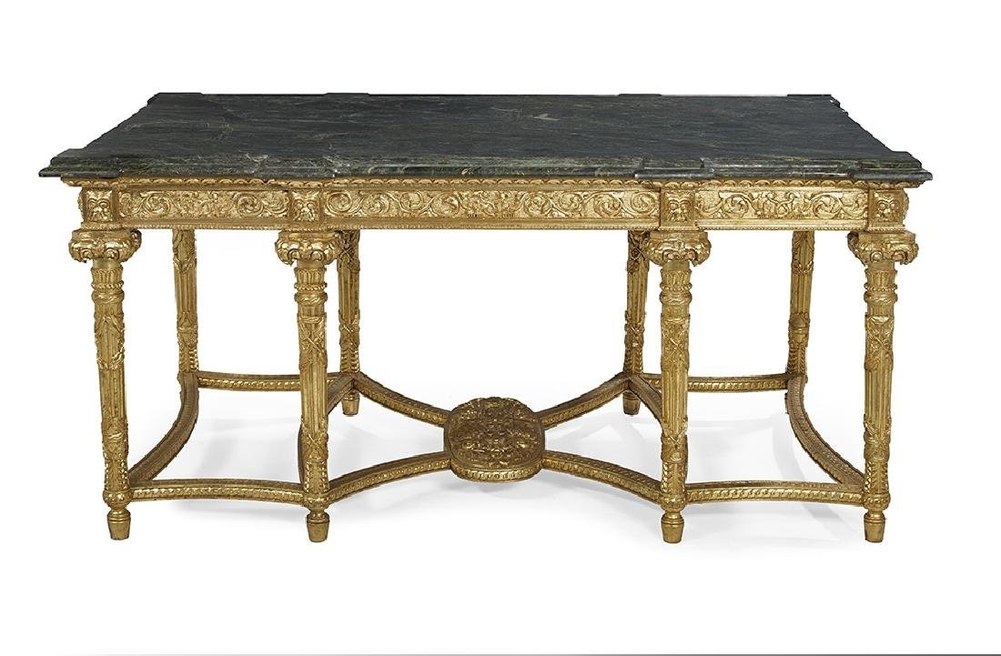 Louis XVI-Style Giltwood and Marble-Top Center Table - 2