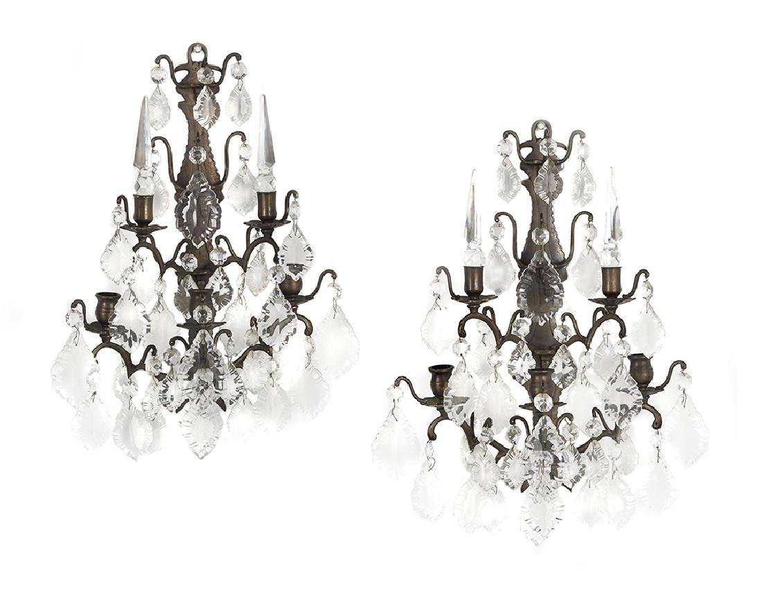 Pair of Louis XV-Style Bronze and Crystal Sconces