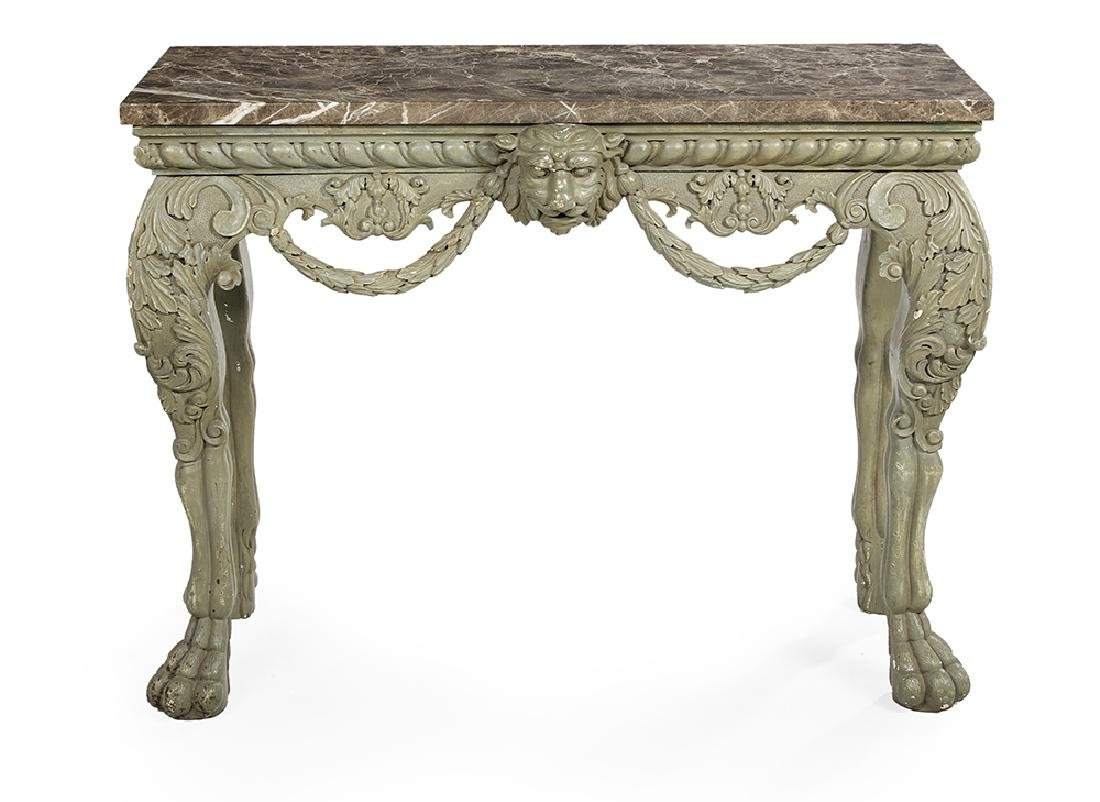 Louis XIV-Style Polychrome and Marble-Top Side Table