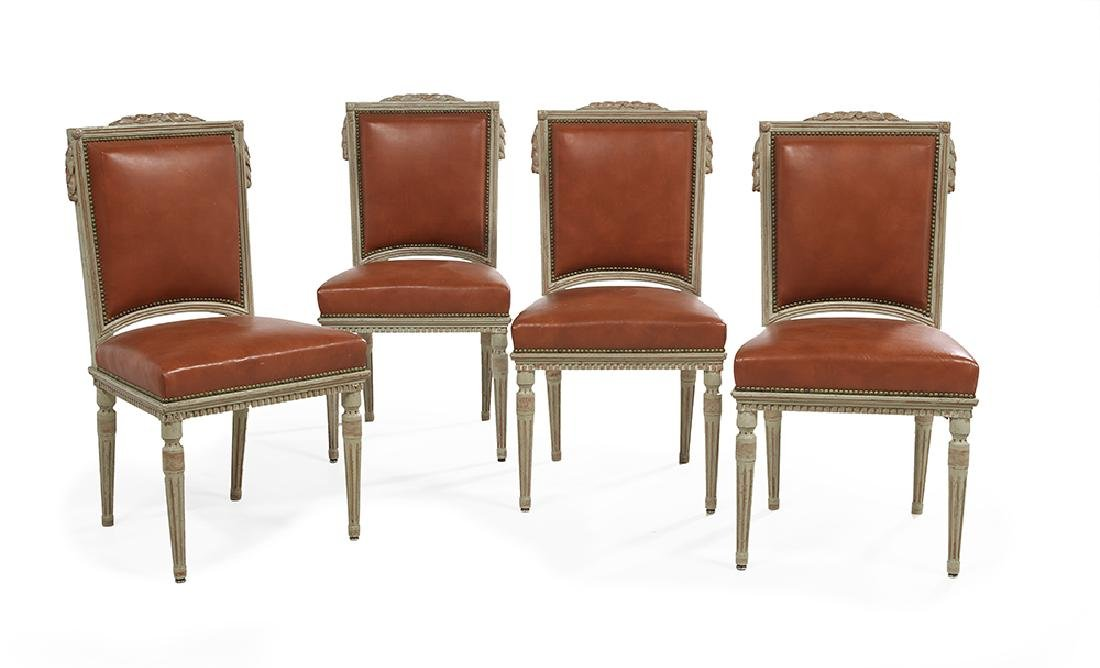 Suite of Four Louis XVI-Style Polychromed Side Chairs