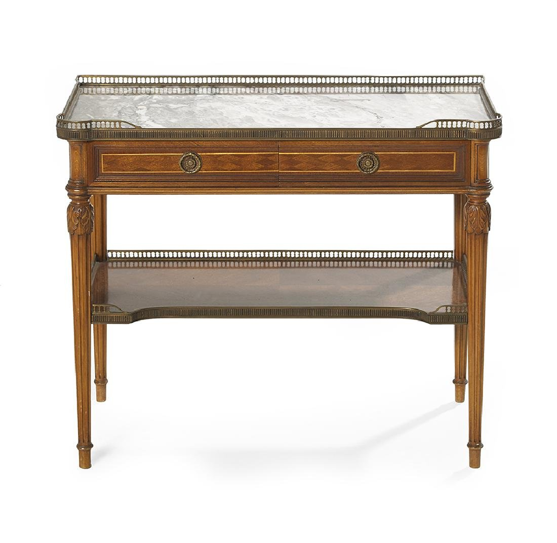 Louis XVI-Style Mahogany and Marble-Top Side Table