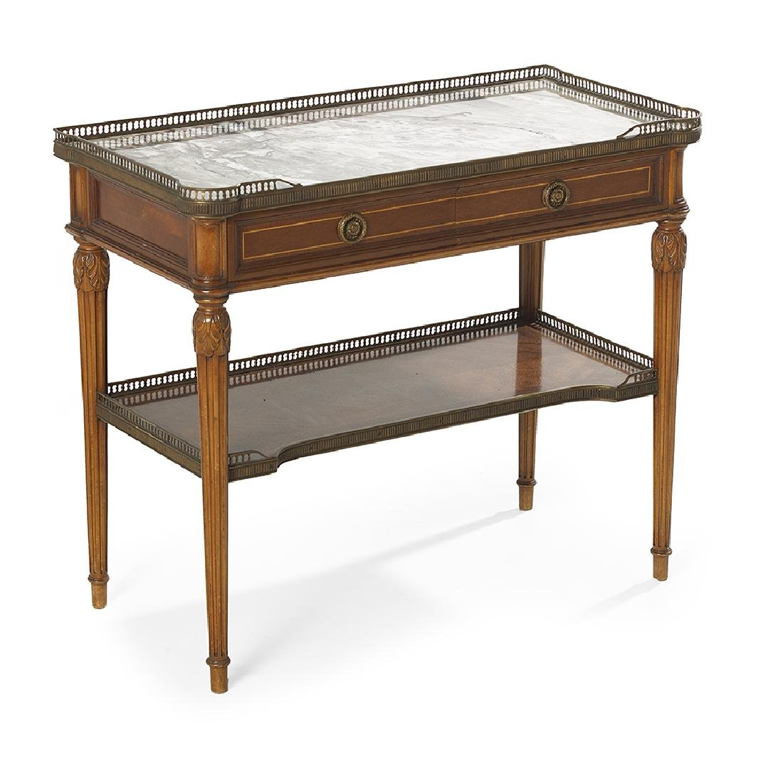 Louis XVI-Style Mahogany and Marble-Top Side Table - 2